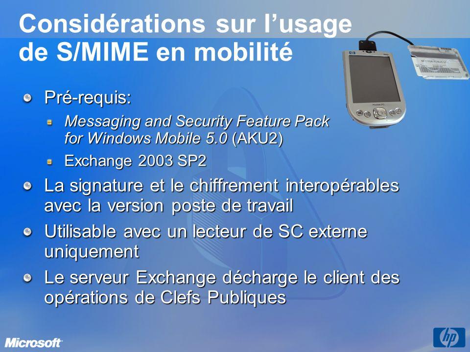 Considérations sur l'usage de S/MIME en mobilité