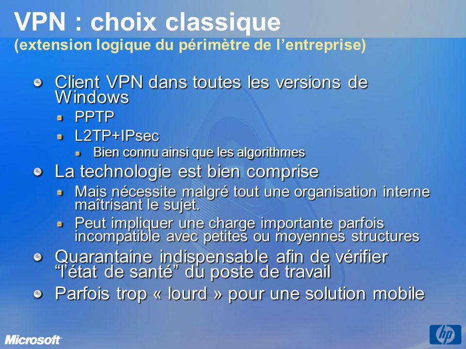 VPN : choix classique (extension logique du périmètre de l'entreprise)