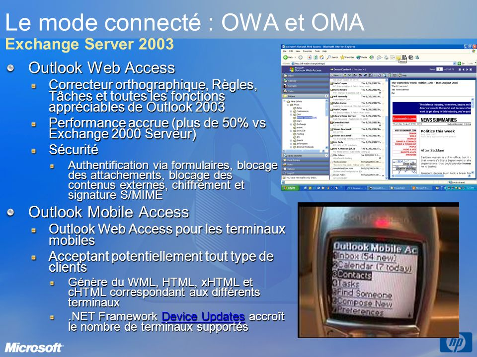 Le mode connecté : OWA et OMA Exchange Server 2003
