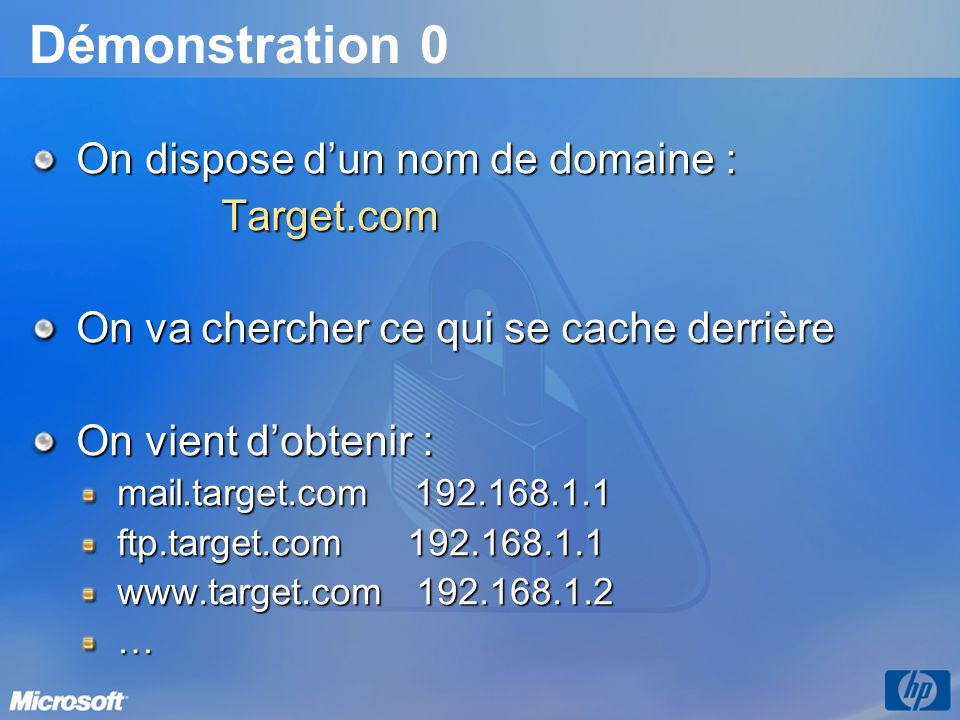 Démonstration 0 On dispose d'un nom de domaine : Target.com