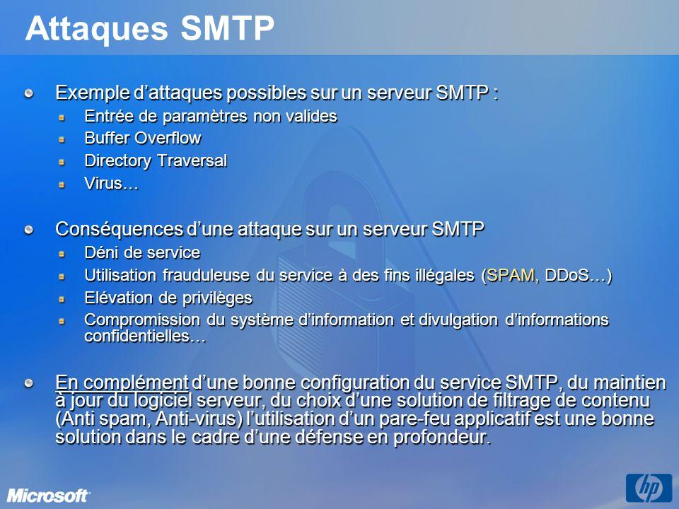 Attaques SMTP Exemple d'attaques possibles sur un serveur SMTP :