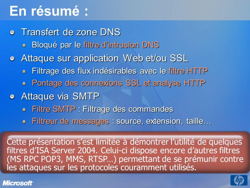 En résumé : Transfert de zone DNS