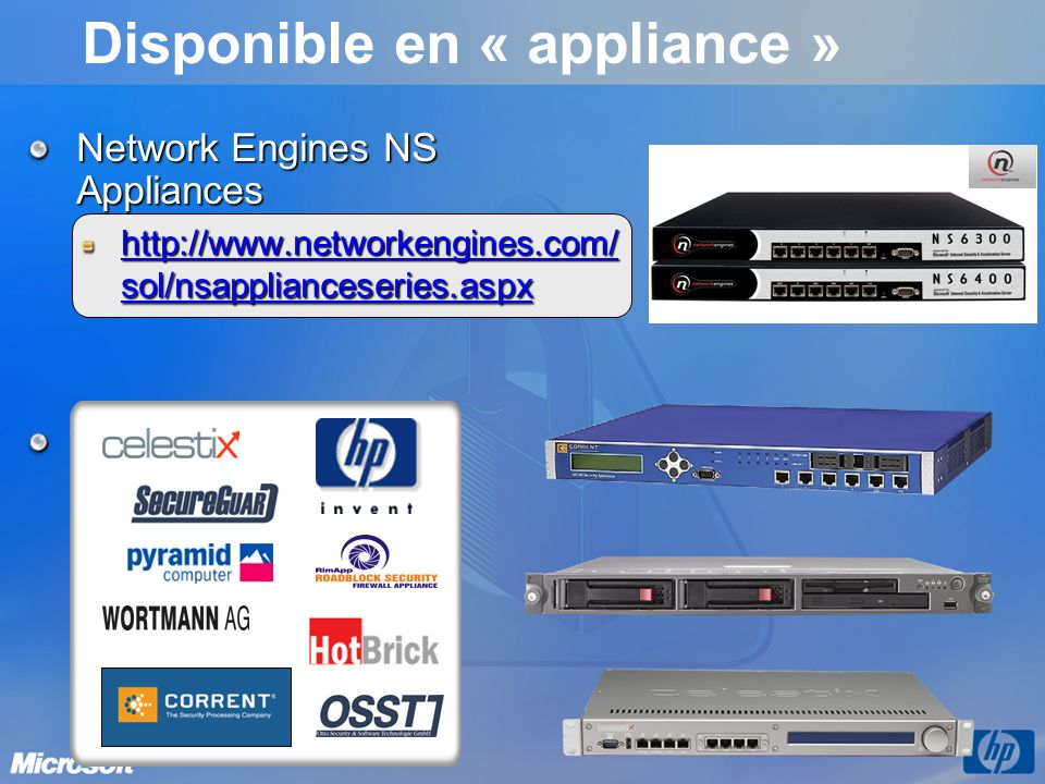 Disponible en « appliance »