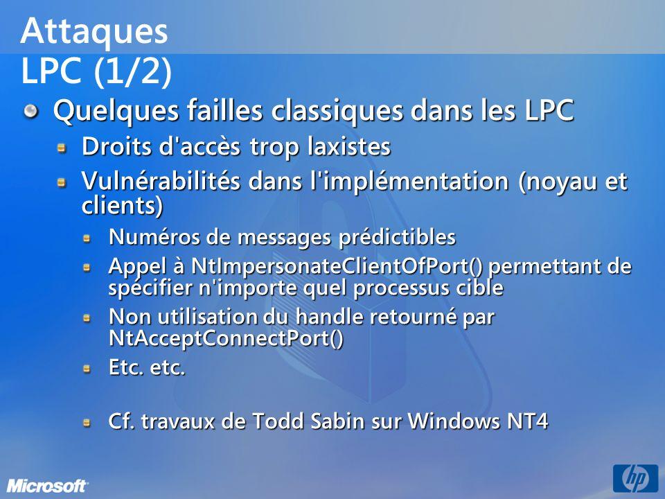 Attaques LPC (1/2) Quelques failles classiques dans les LPC