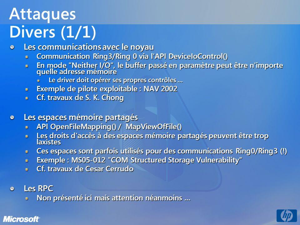 Attaques Divers (1/1) Les communications avec le noyau