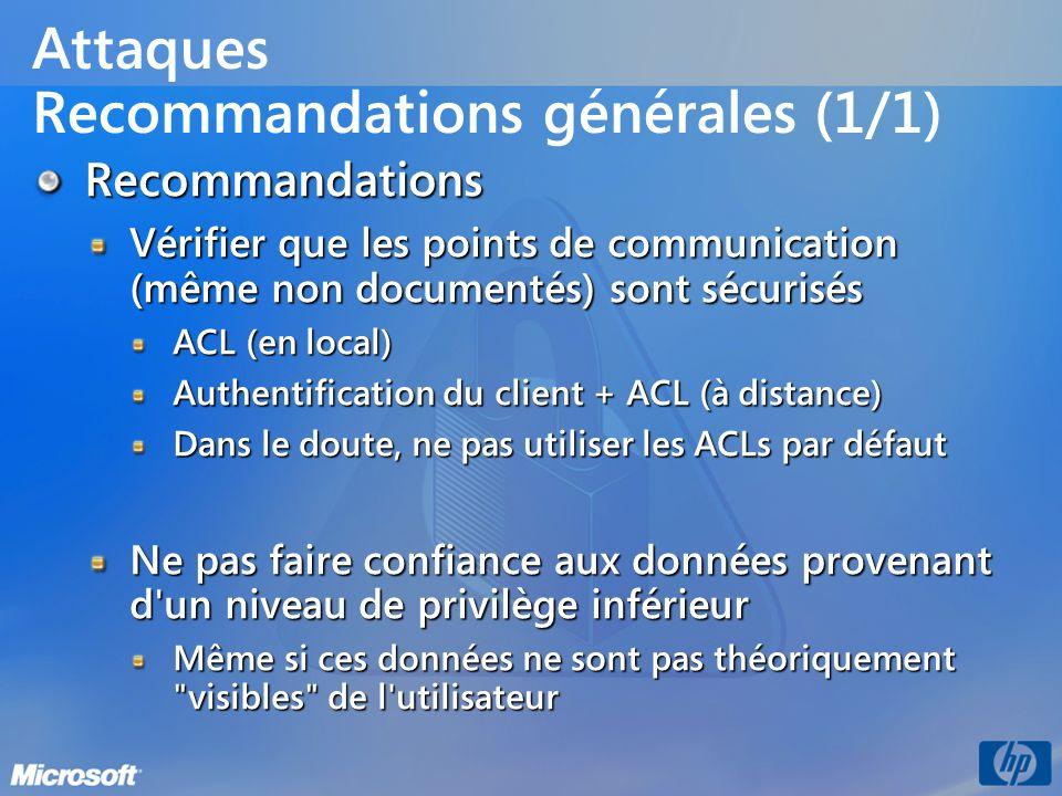 Attaques Recommandations générales (1/1)