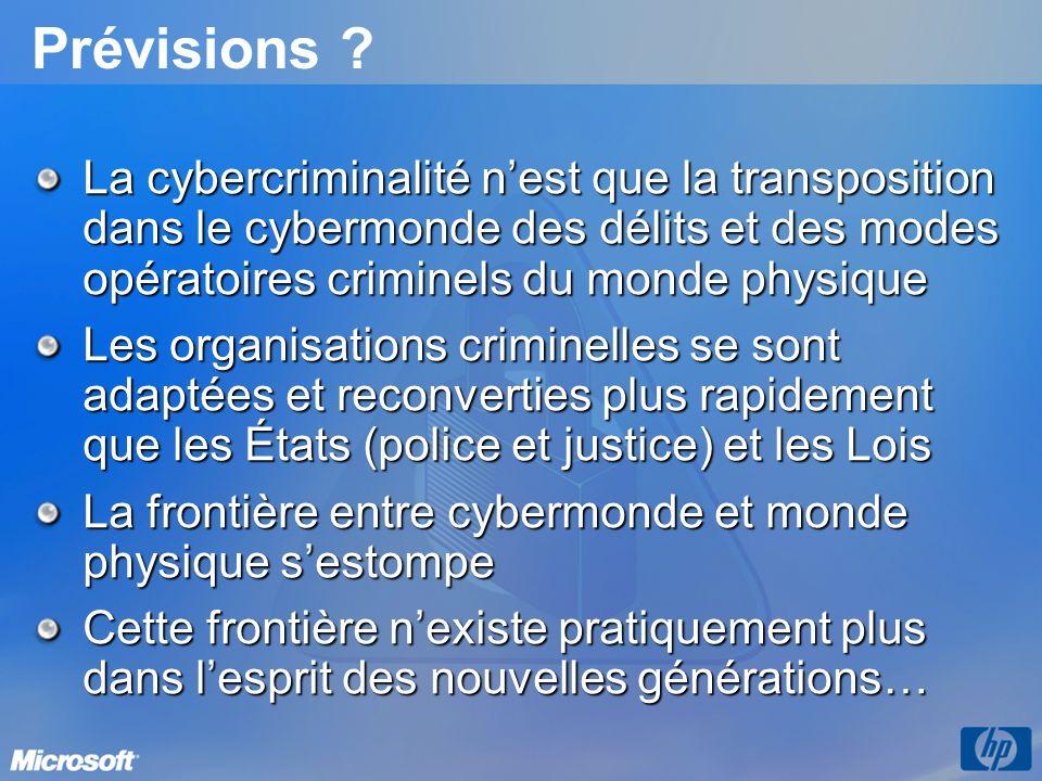Prévisions La cybercriminalité n'est que la transposition dans le cybermonde des délits et des modes opératoires criminels du monde physique.