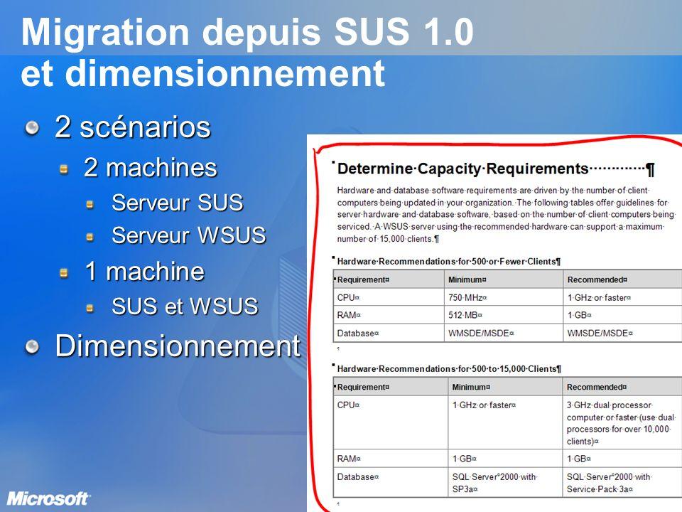 Migration depuis SUS 1.0 et dimensionnement