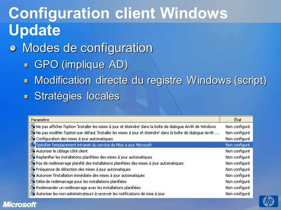 Configuration client Windows Update