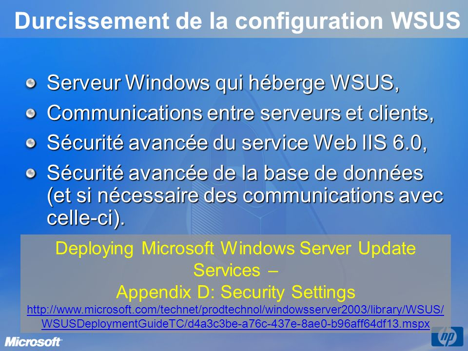 Durcissement de la configuration WSUS