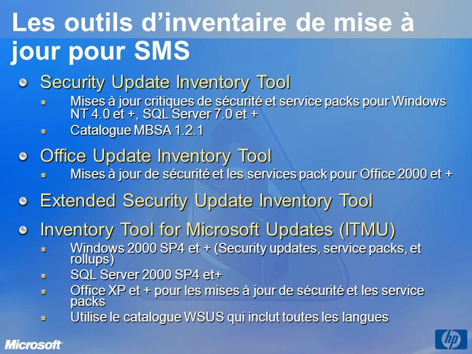 Les outils d'inventaire de mise à jour pour SMS