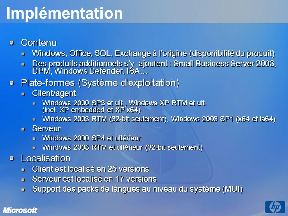 Implémentation Contenu Plate-formes (Système d'exploitation)
