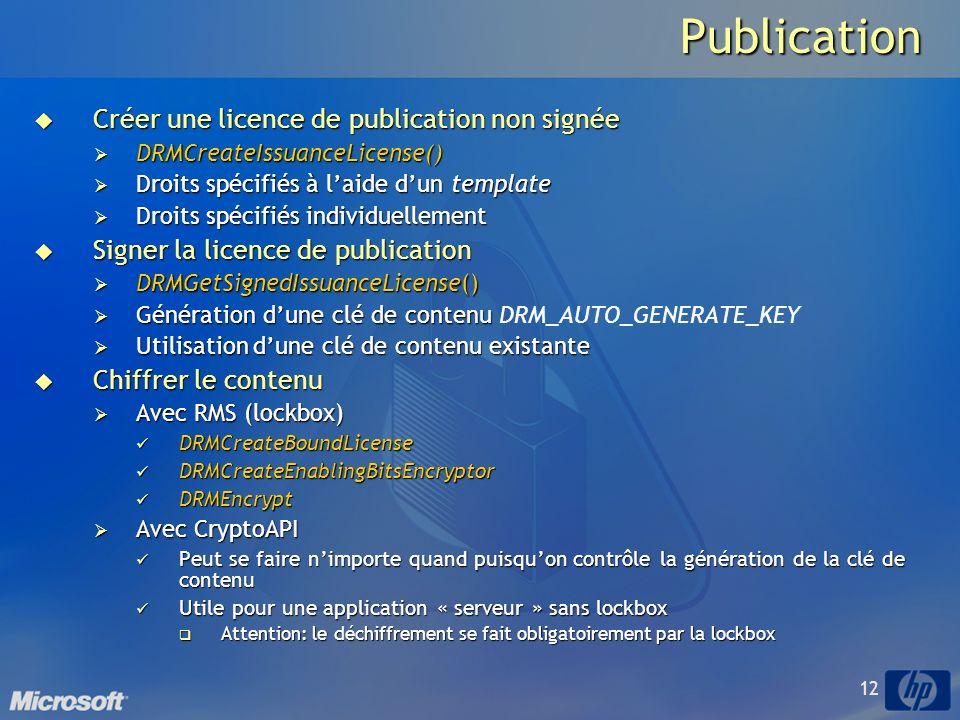 Publication Créer une licence de publication non signée