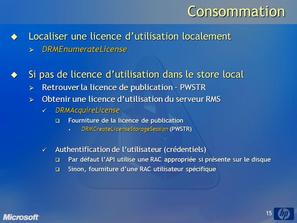 Consommation Localiser une licence d'utilisation localement