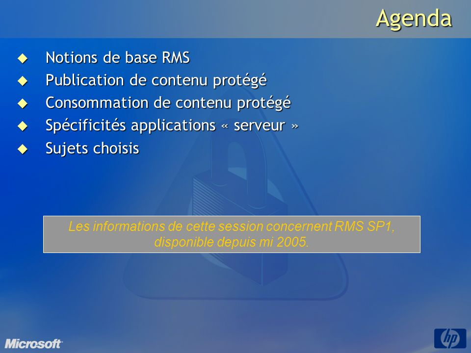 Agenda Notions de base RMS Publication de contenu protégé