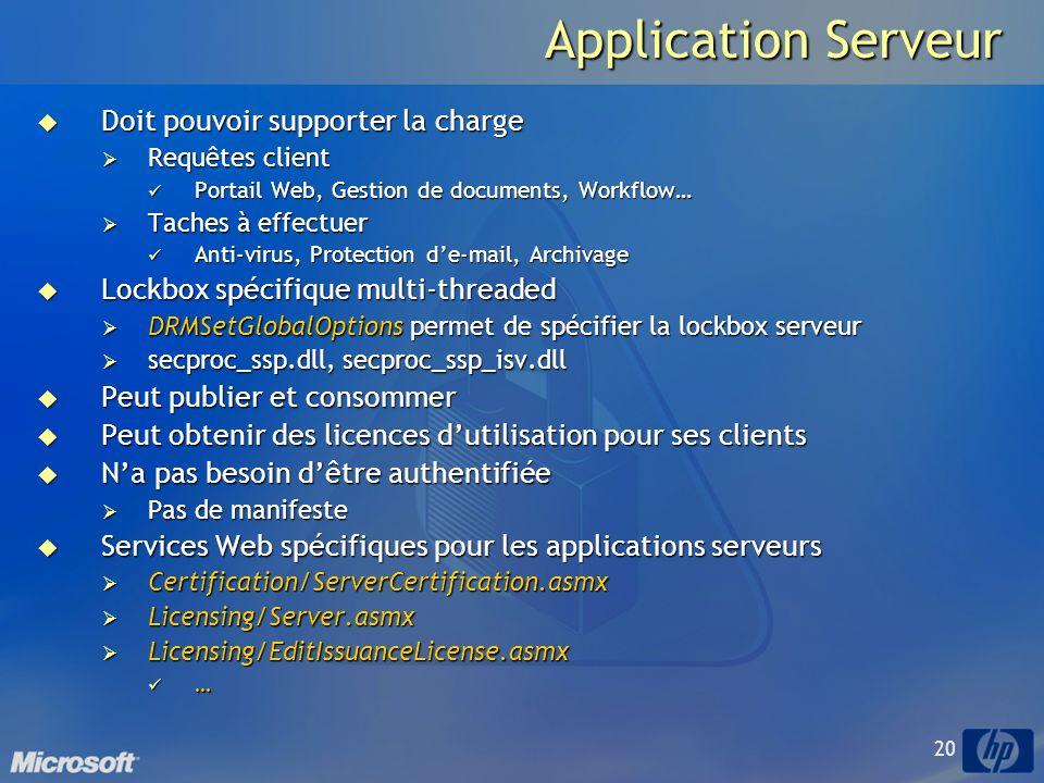 Application Serveur Doit pouvoir supporter la charge