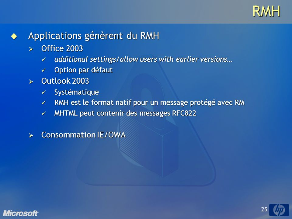 RMH Applications génèrent du RMH Office 2003 Outlook 2003