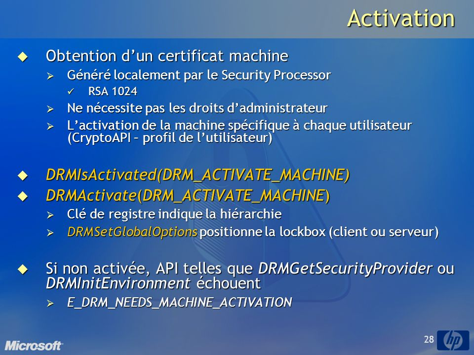 Activation Obtention d'un certificat machine