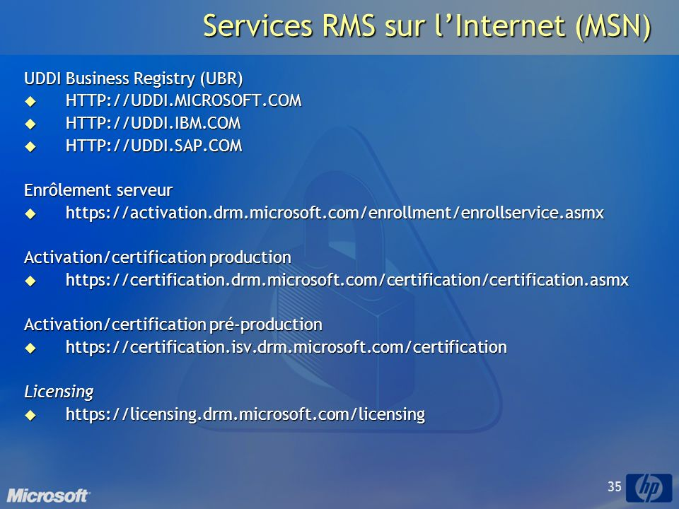 Services RMS sur l'Internet (MSN)