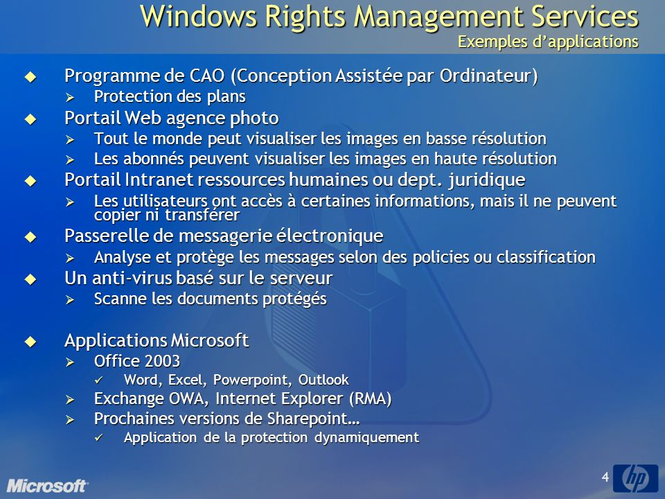 Windows Rights Management Services Exemples d'applications