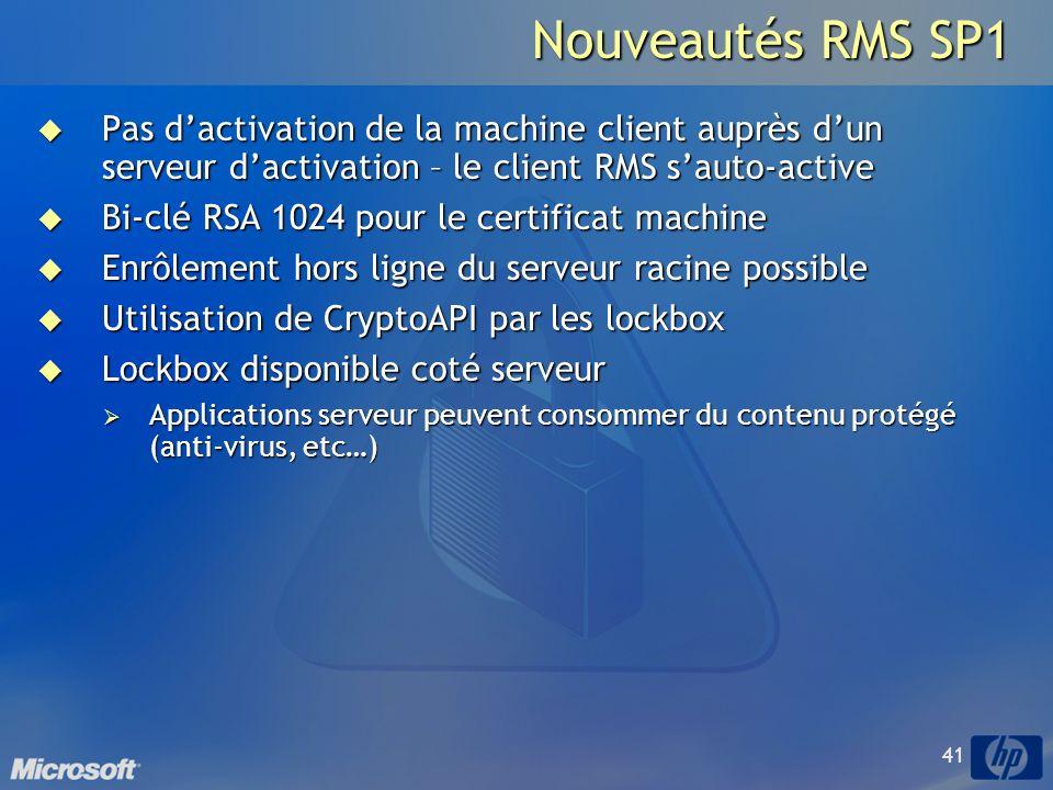 Nouveautés RMS SP1 Pas d'activation de la machine client auprès d'un serveur d'activation – le client RMS s'auto-active.