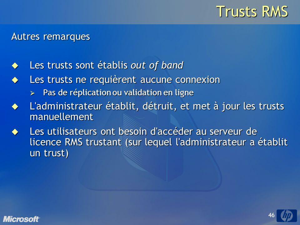 Trusts RMS Autres remarques Les trusts sont établis out of band