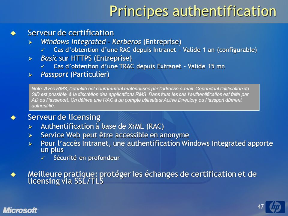 Principes authentification