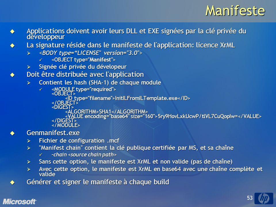 Manifeste Applications doivent avoir leurs DLL et EXE signées par la clé privée du développeur.