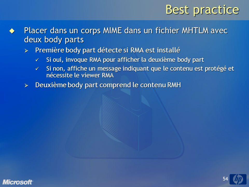 Best practice Placer dans un corps MIME dans un fichier MHTLM avec deux body parts. Première body part détecte si RMA est installé.