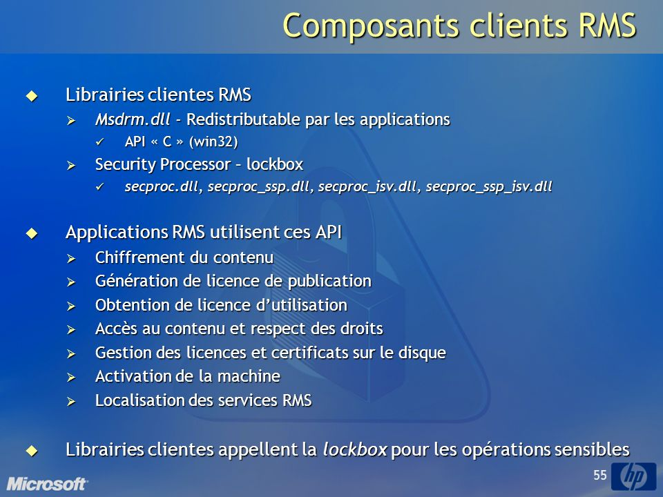 Composants clients RMS