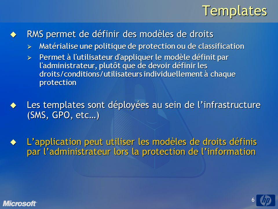Templates RMS permet de définir des modèles de droits