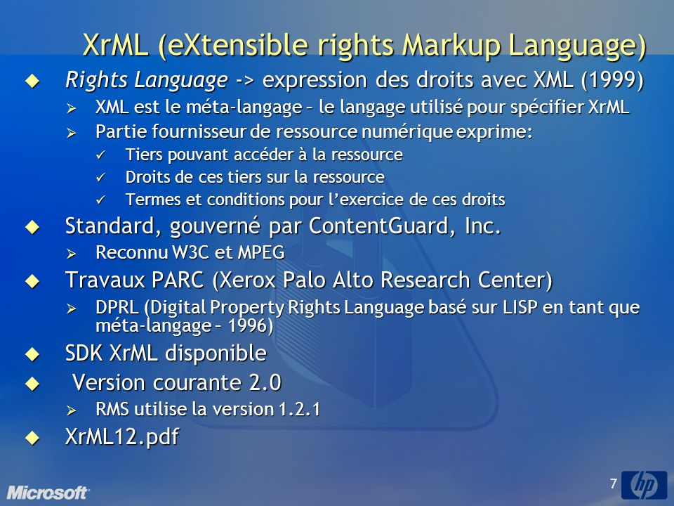 XrML (eXtensible rights Markup Language)