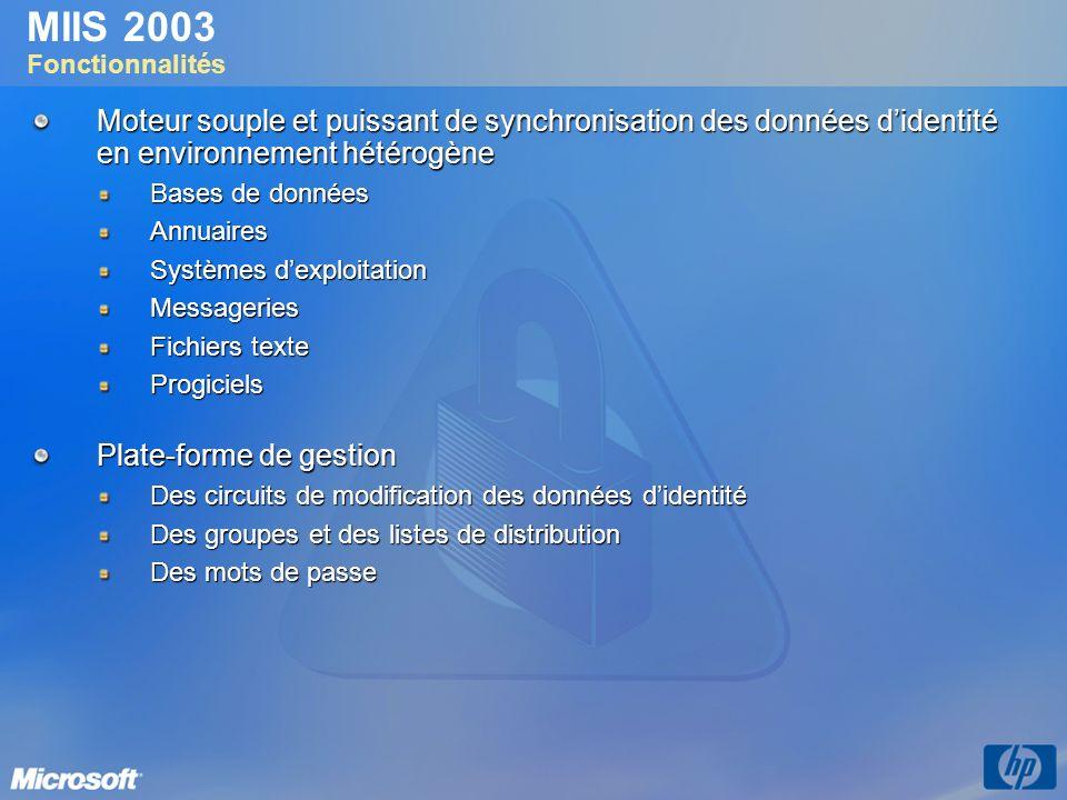 MIIS 2003 FonctionnalitésMoteur souple et puissant de synchronisation des données d'identité en environnement hétérogène.