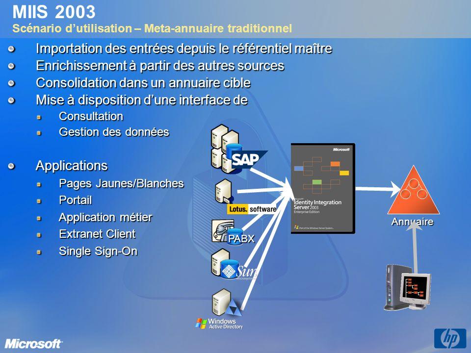 MIIS 2003 Scénario d'utilisation – Meta-annuaire traditionnel
