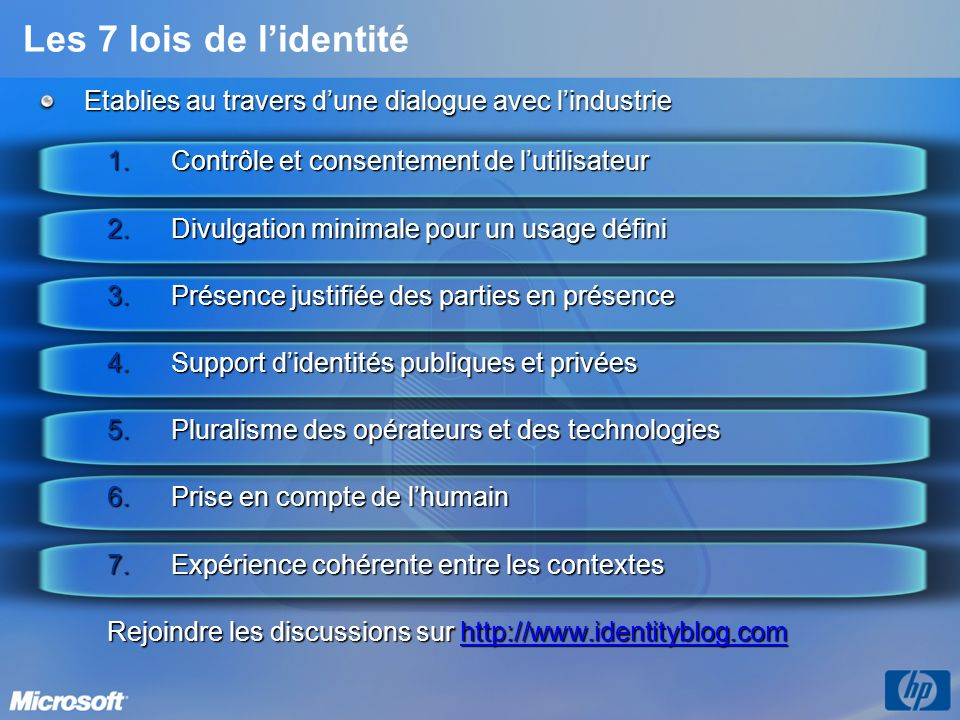3/26/2017 3:56 PM Les 7 lois de l'identité. Etablies au travers d'une dialogue avec l'industrie. Contrôle et consentement de l'utilisateur.