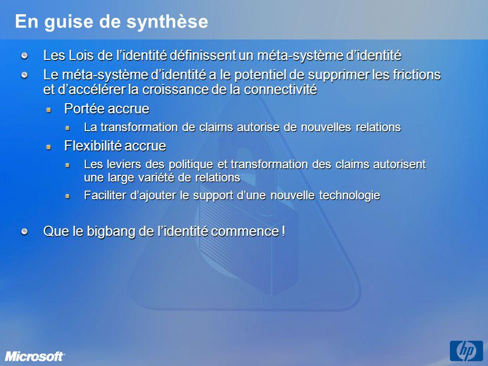 En guise de synthèseLes Lois de l'identité définissent un méta-système d'identité.