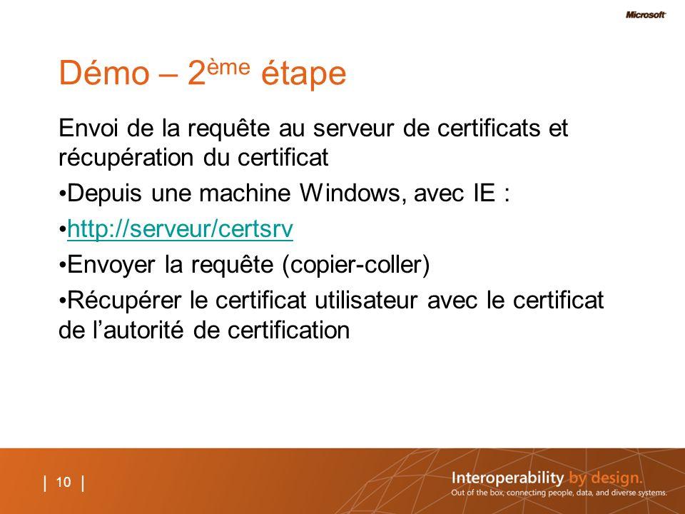 Démo – 2ème étape Envoi de la requête au serveur de certificats et récupération du certificat. Depuis une machine Windows, avec IE :