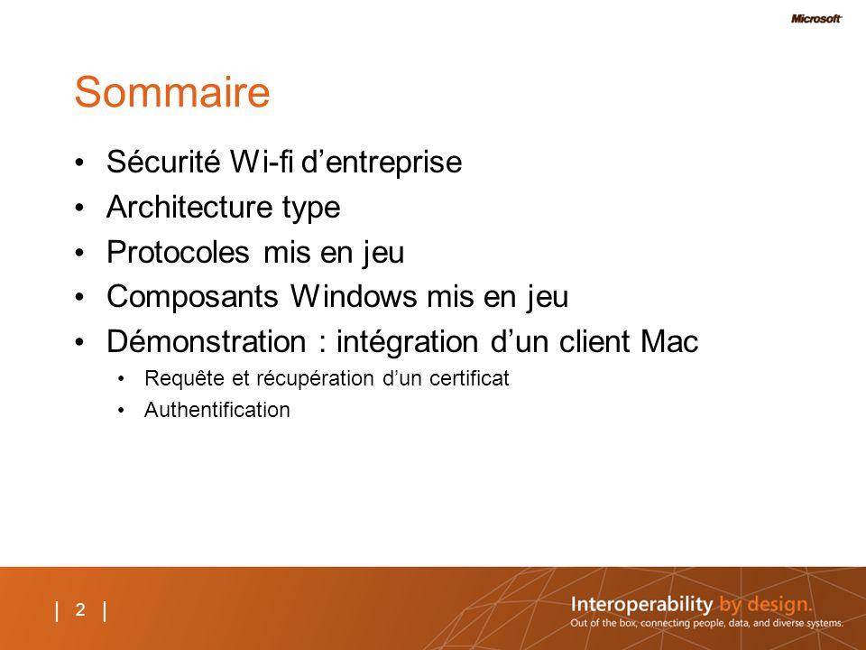 Sommaire Sécurité Wi-fi d'entreprise Architecture type