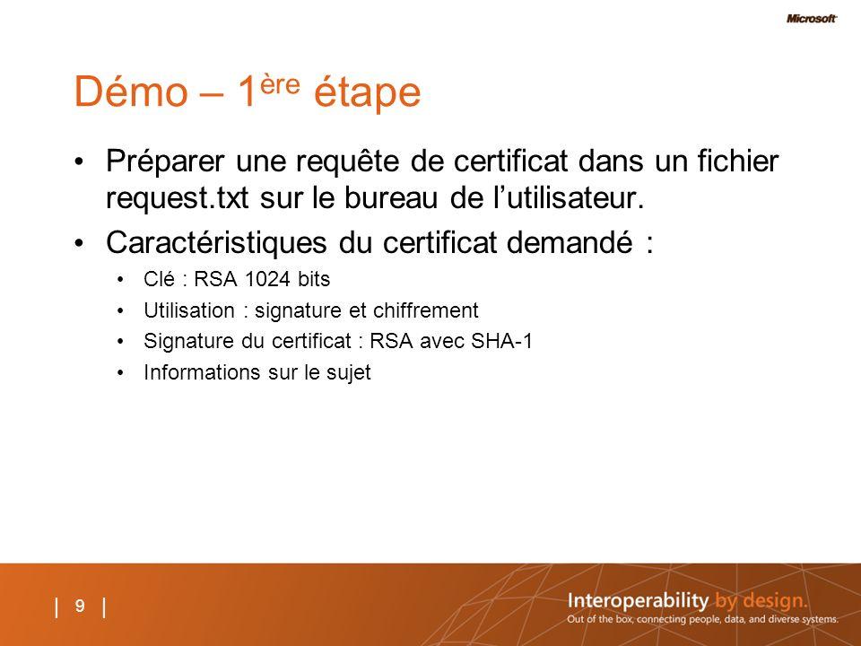 Démo – 1ère étape Préparer une requête de certificat dans un fichier request.txt sur le bureau de l'utilisateur.