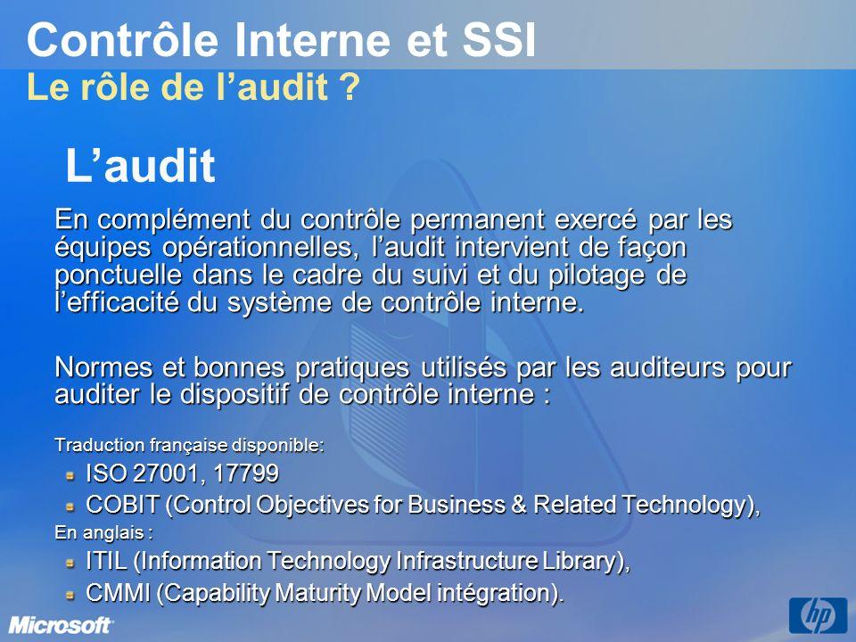 Contrôle Interne et SSI Le rôle de l'audit