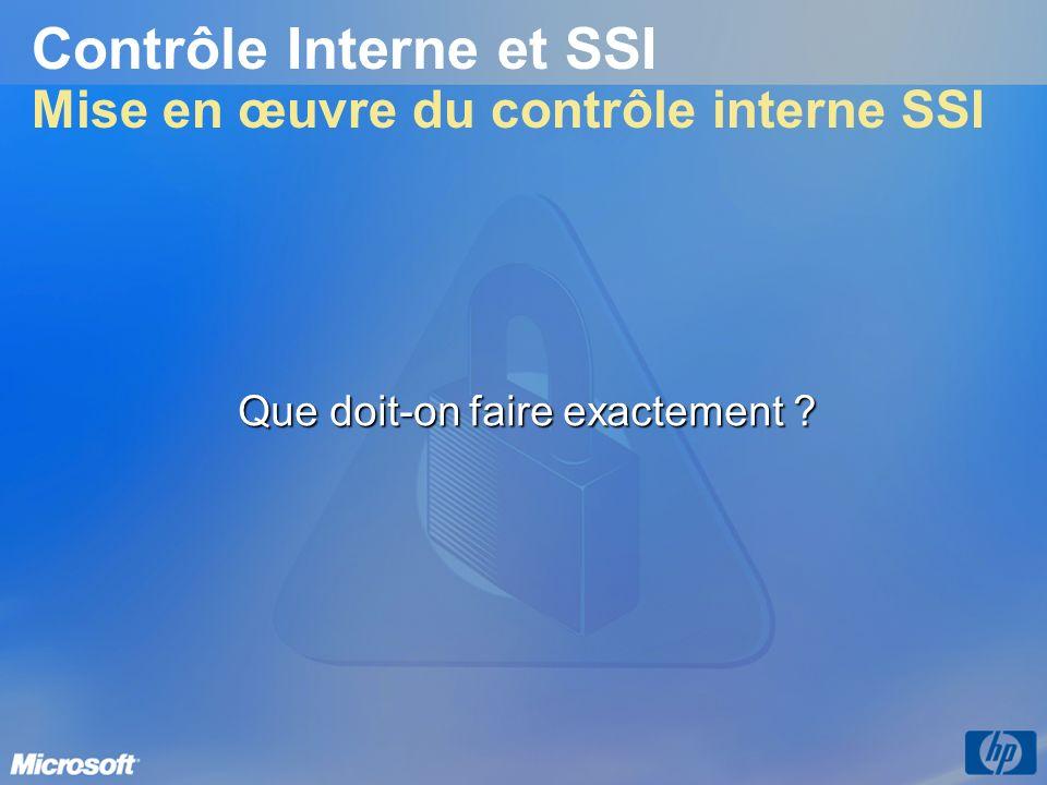 Contrôle Interne et SSI Mise en œuvre du contrôle interne SSI