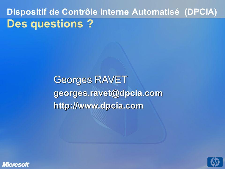 Dispositif de Contrôle Interne Automatisé (DPCIA) Des questions