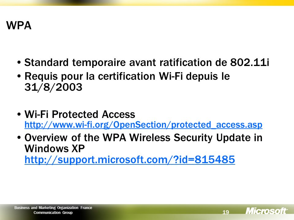 WPA Standard temporaire avant ratification de 802.11i