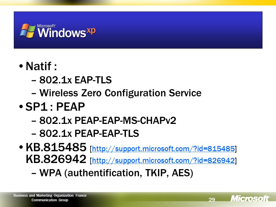 Natif : 802.1x EAP-TLS. Wireless Zero Configuration Service. SP1 : PEAP. 802.1x PEAP-EAP-MS-CHAPv2.