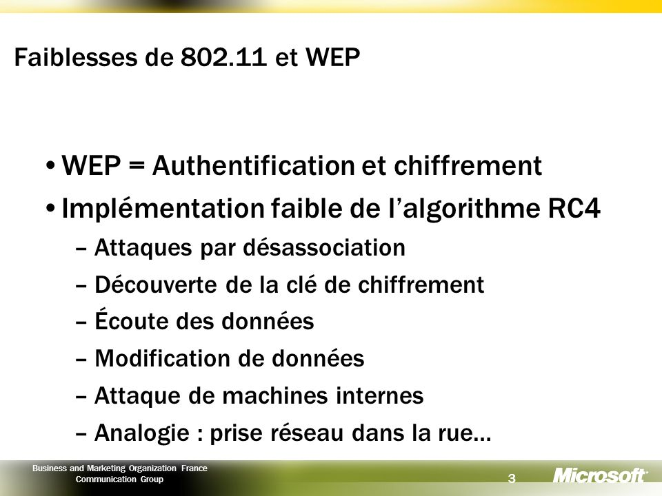 WEP = Authentification et chiffrement
