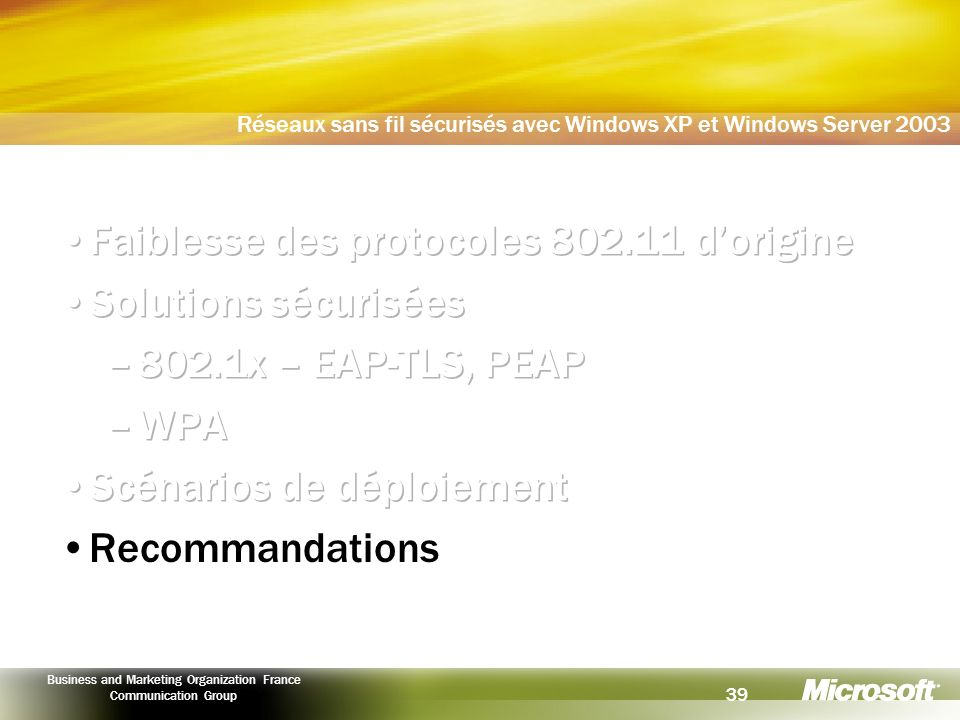 Faiblesse des protocoles 802.11 d'origine Solutions sécurisées
