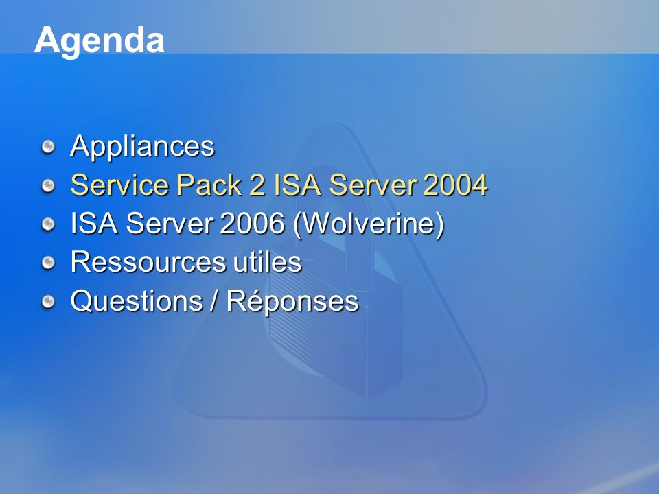 Agenda Appliances Service Pack 2 ISA Server 2004
