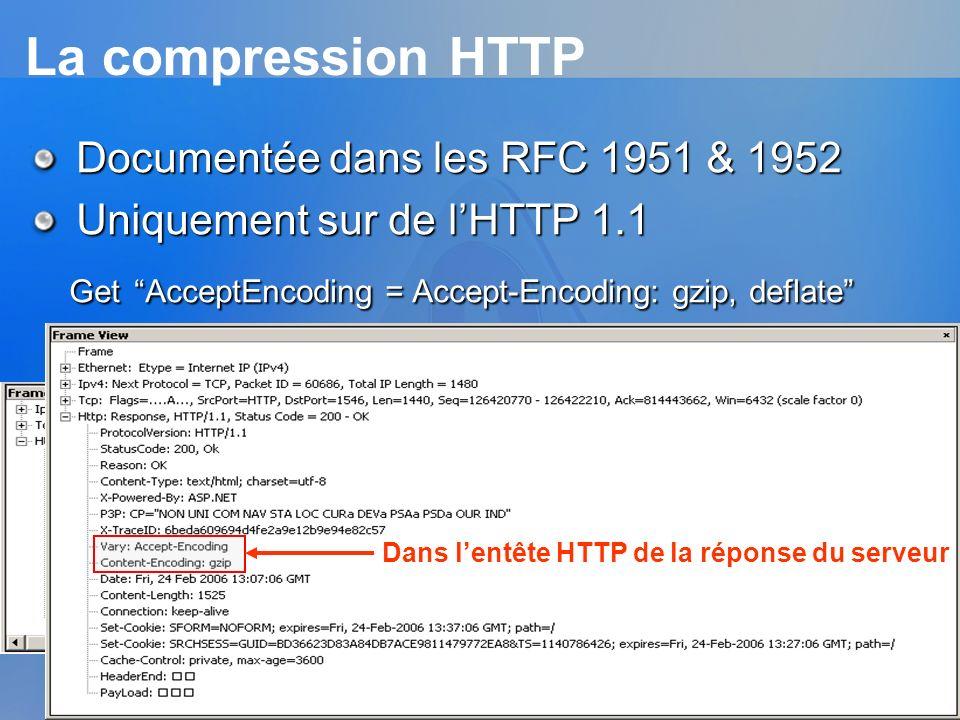 La compression HTTP Documentée dans les RFC 1951 & 1952. Uniquement sur de l'HTTP 1.1. Get AcceptEncoding = Accept-Encoding: gzip, deflate