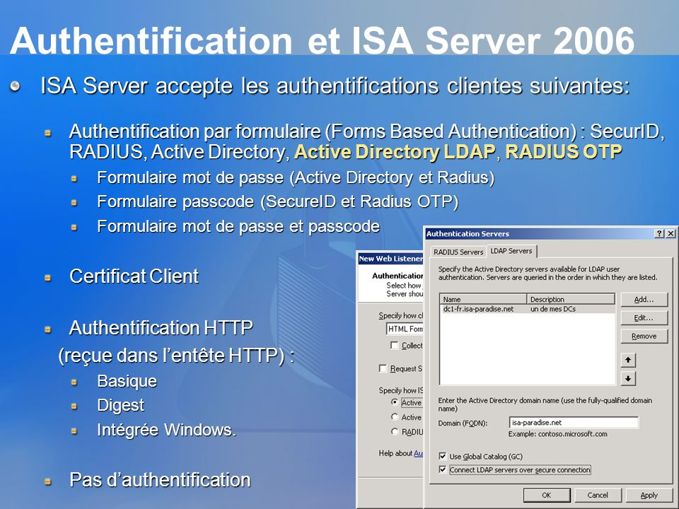 Authentification et ISA Server 2006