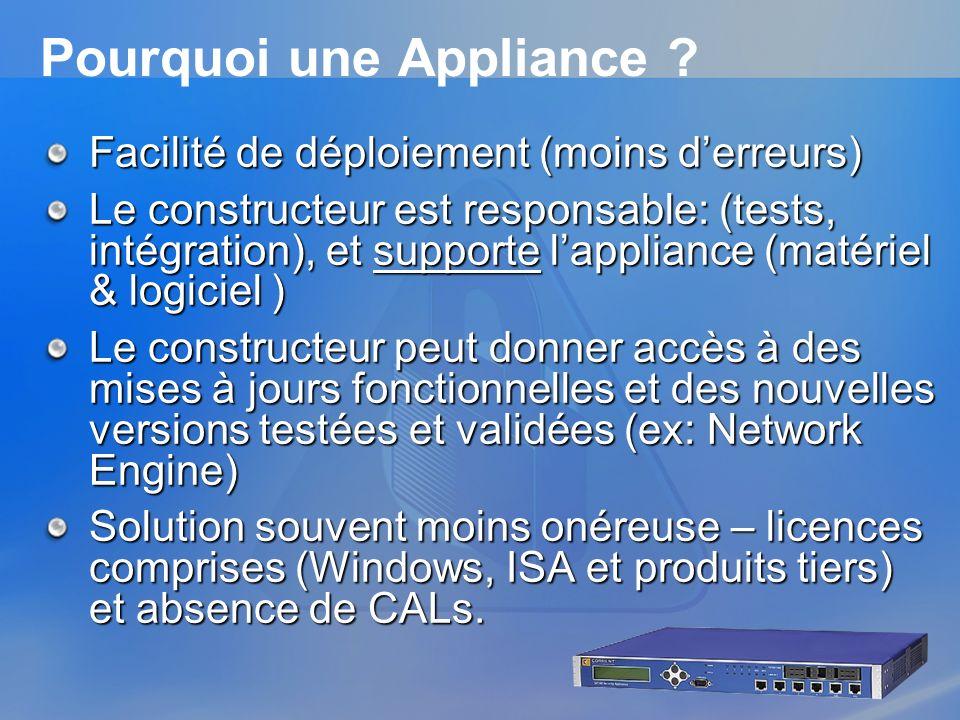 Pourquoi une Appliance
